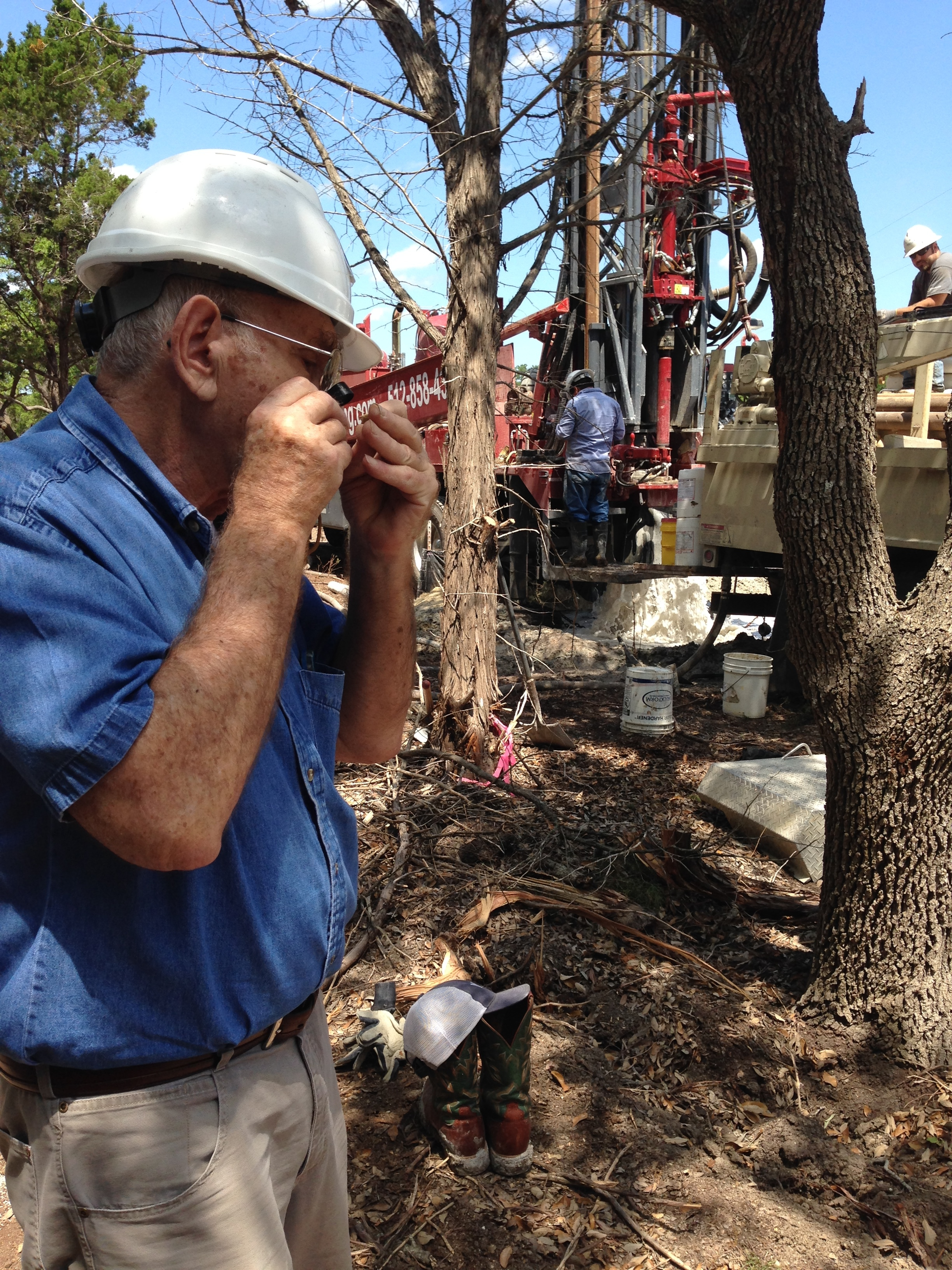 Geologist at well site