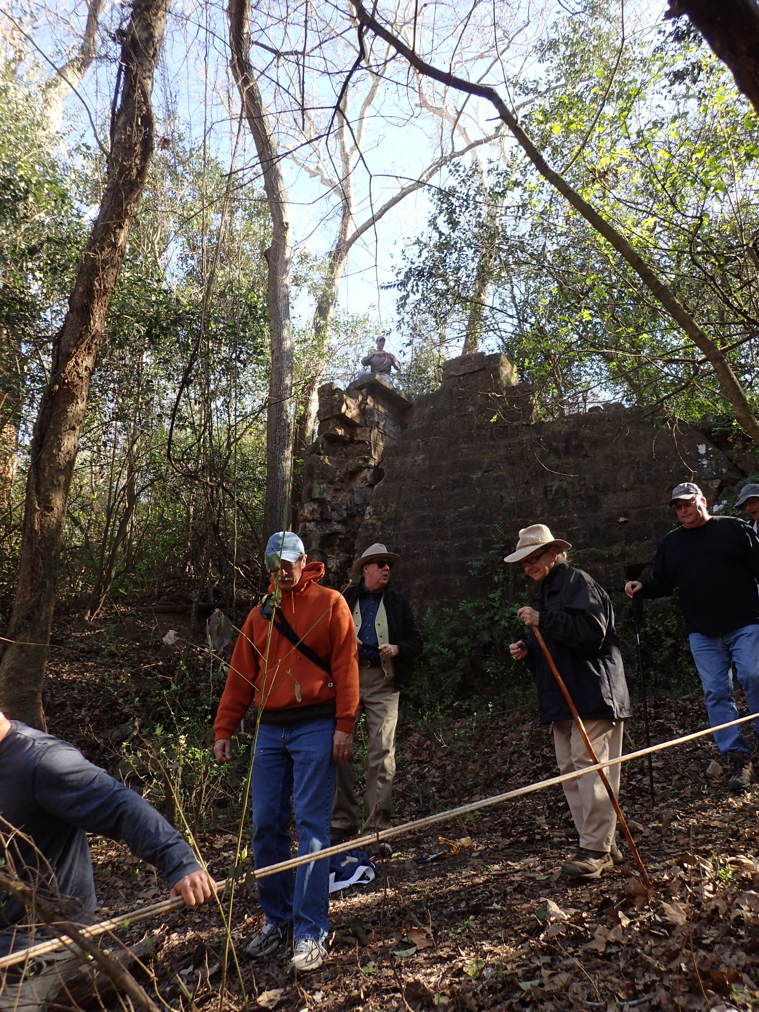 AGS members climbing down to Terry Creek from the ruins of McKinney Mill.