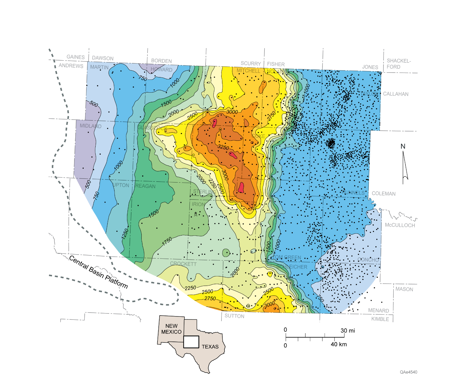Isochore map of the Wolfcampian upper Cisco Group showing location of wells used in the study. Thickest strata coincide with a depocenter of much-thickened slope systems comprising siliciclastic and carbonate debris-flow deposits and thick sections of slope mudrock. Slope sandstones and limestones are among the most productive facies of the southern Eastern Shelf.