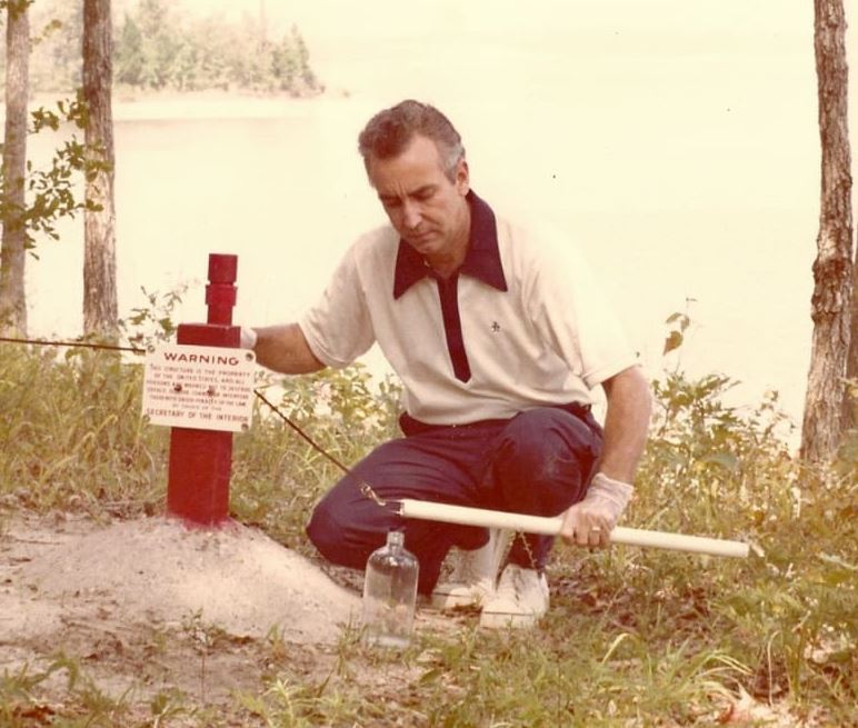 Ernie Baker doing field work.