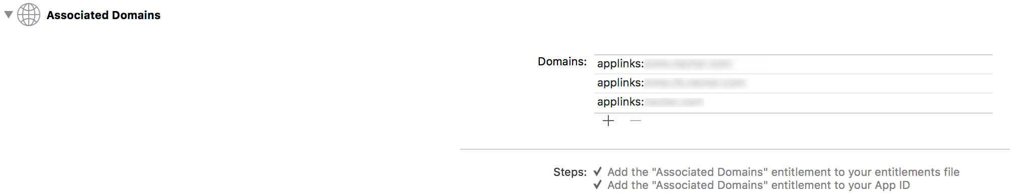 Picture 1 - Associated Domains Section in Xcode - Capabilities - tab