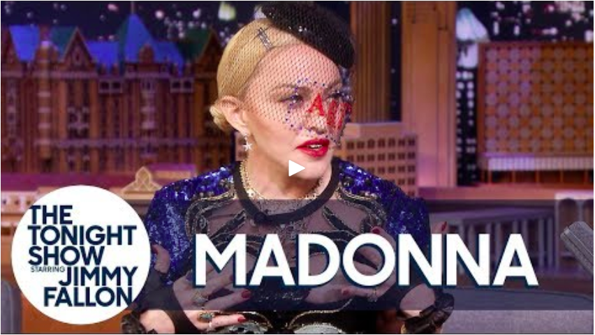 Madonna wears VG 'Art' hat and discusses veils and marriage Jimmy Fallon.