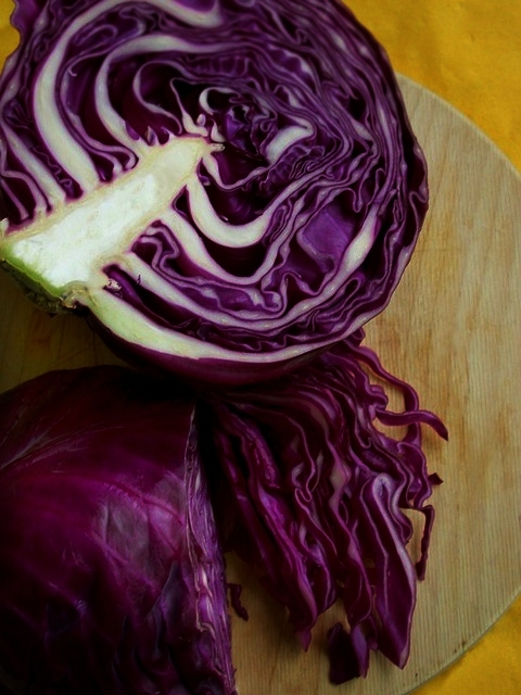 Science Fun Fact - The red color (anthocyanin) in cabbage can be used to determine if the soil or the cooking environment is more alkaline (non-acidic) or acidic.Red cabbage likes to grow in more acidic soil so, the more acidic the soil is, the darker red the cabbage is. That's why we see ranges from red to deep purple and, almost black.When red cabbage is cooked in a more alkaline environment it can turn a blue or greyish color. To keep the vibrant red color, simply add some acid such as lemon or vinegar.