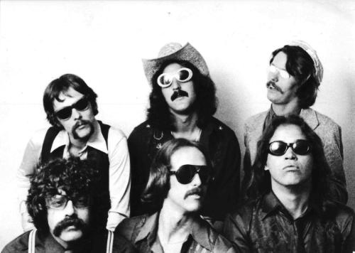 The Fat and Sassy Band 1979 - Front Row L-R: Joe Juarez, Michael J. Cullen, Chet Hogoboom. Top Row L-R: Mick Stratton, Jon Eben, Leonard White.