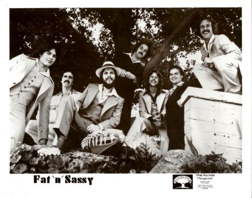 Fat and Sassy 1977 - L-R: Franz Blusk, Theo Martin, Mick Stratton, Jon Eben, Leonard White, Chet Hogoboom, Michael J. Cullen