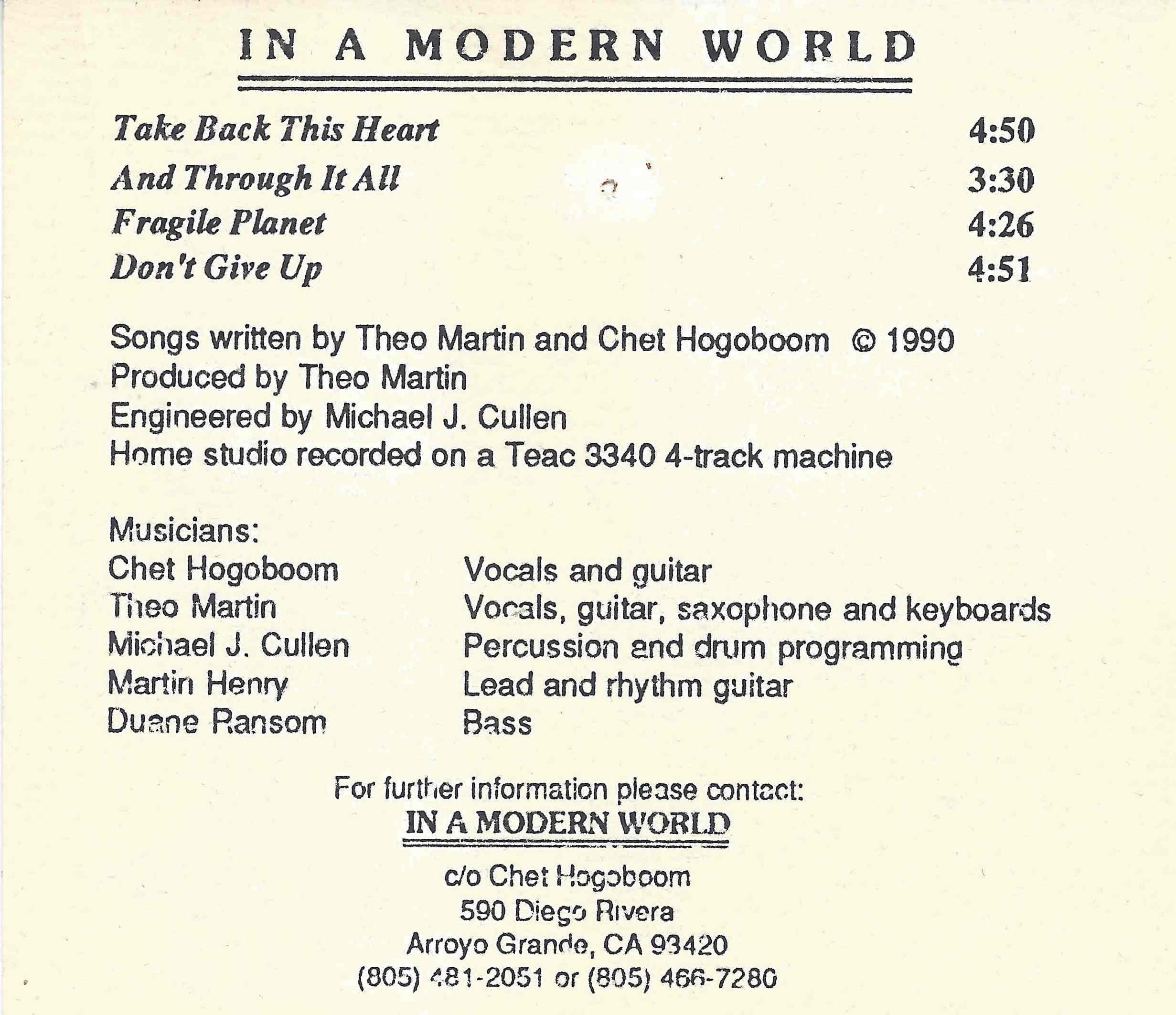 In a Modern World, CASSETTE - 1990