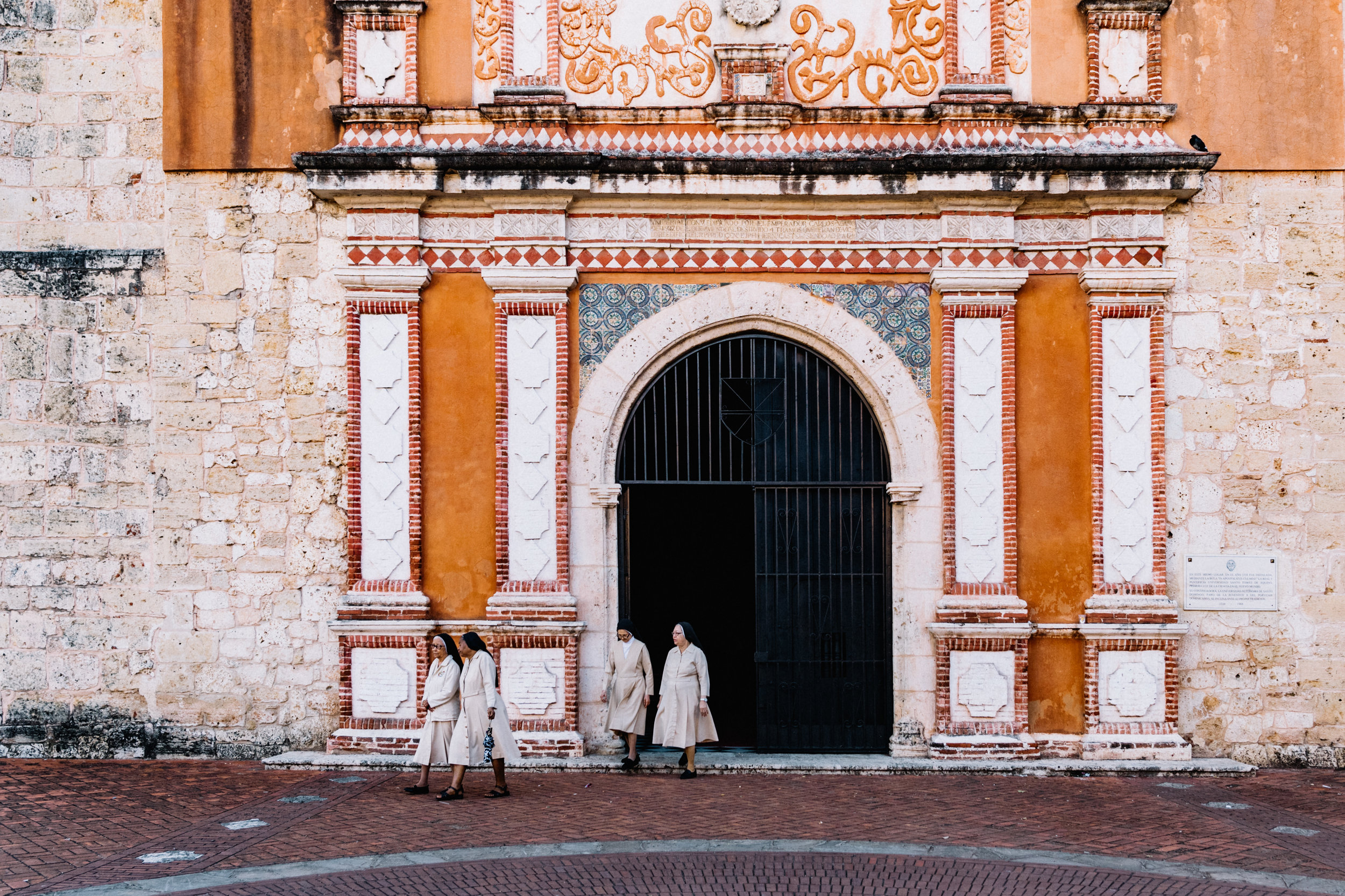 Nuns leaving morning church service in Colonial Zone, Dominican Republic