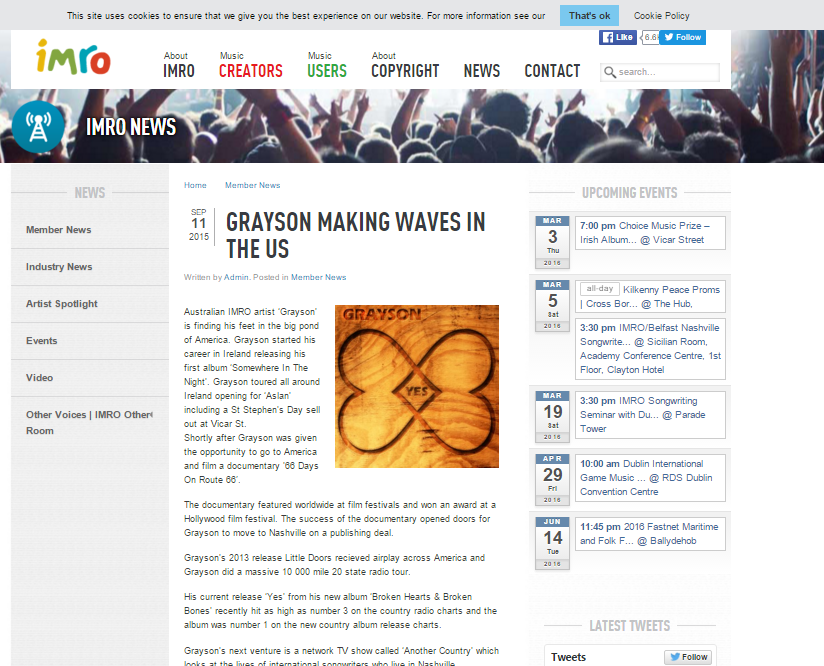 IMRO - Grayson Making Waves In The USA (Sept 11th, 2015)  Click on image to go to article