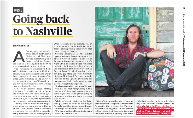 Newcastle Post (Australia) - Going back to Nashville (Feb 25th 2015)