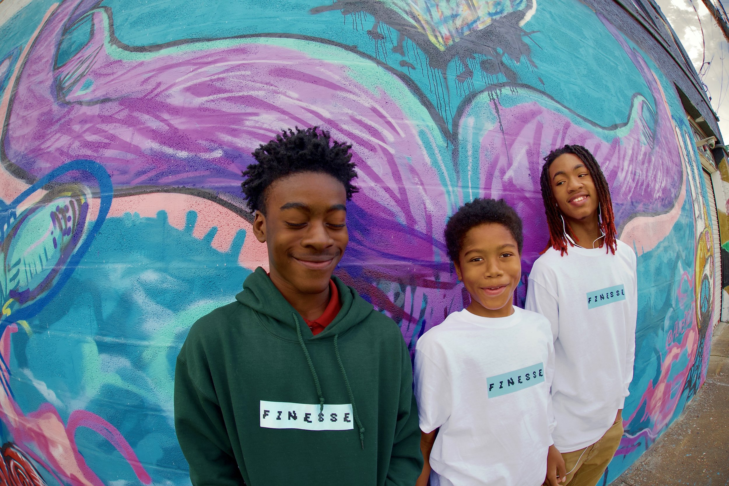 East Lake students modeling merch they created for their original brand 'Finesse'. Photos by East Lake students.