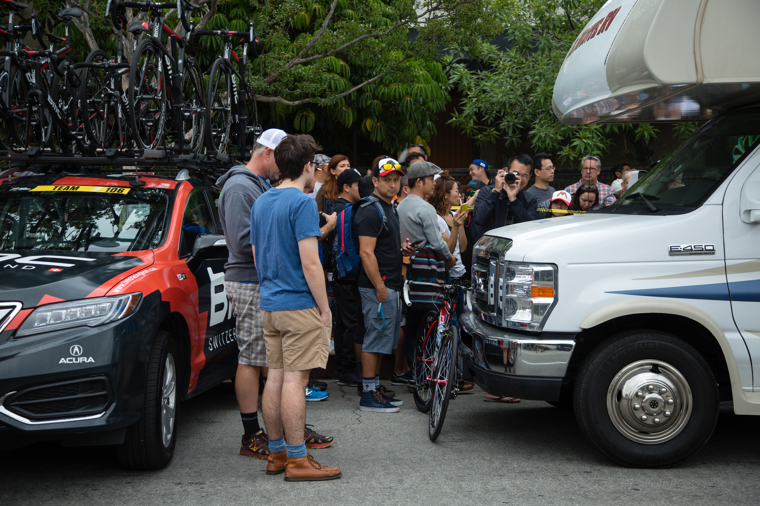 Crowd waits for World Champion Peter Sagan to emerge from the Tinkoff RV.