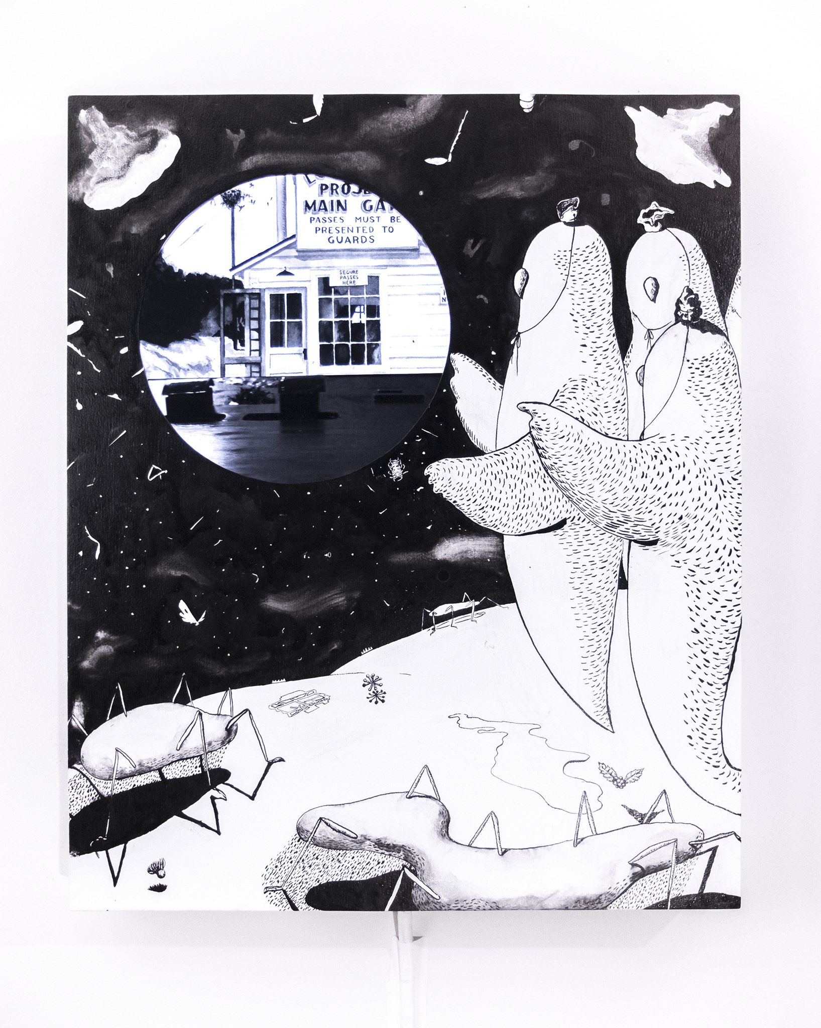 Gaku Tsutaja,  Study with the Moon,  2019. Sumi ink, house paint, panel, media player, monitor, and speaker, 29 x 24 x 2 1/2 inches / 73.7 x 61.0 x 6.4 cm.