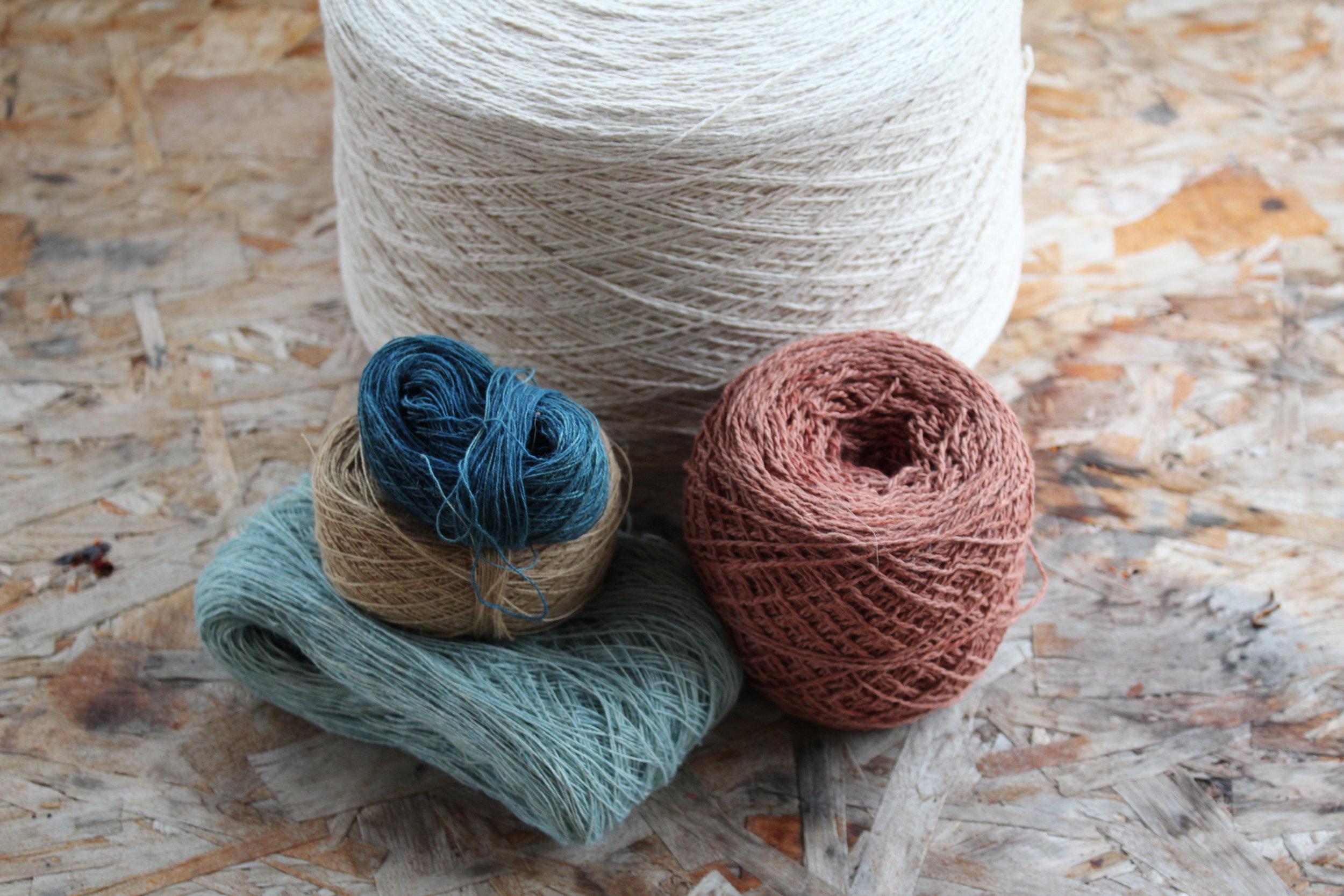 Hemp yarns. Dye work by Megan Samms and Rebekah Krahn. Photo by Megan Samms.