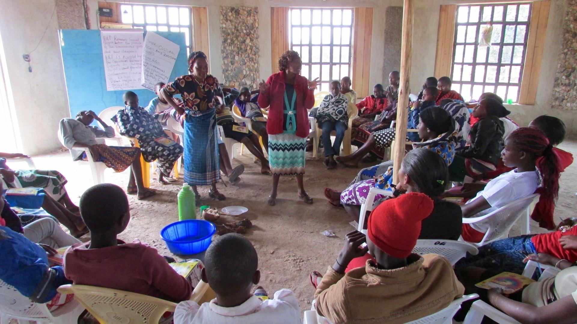 Ex-nurse, Grace, and FGM victim, Angelica, re-enact the ritual of female circumcision