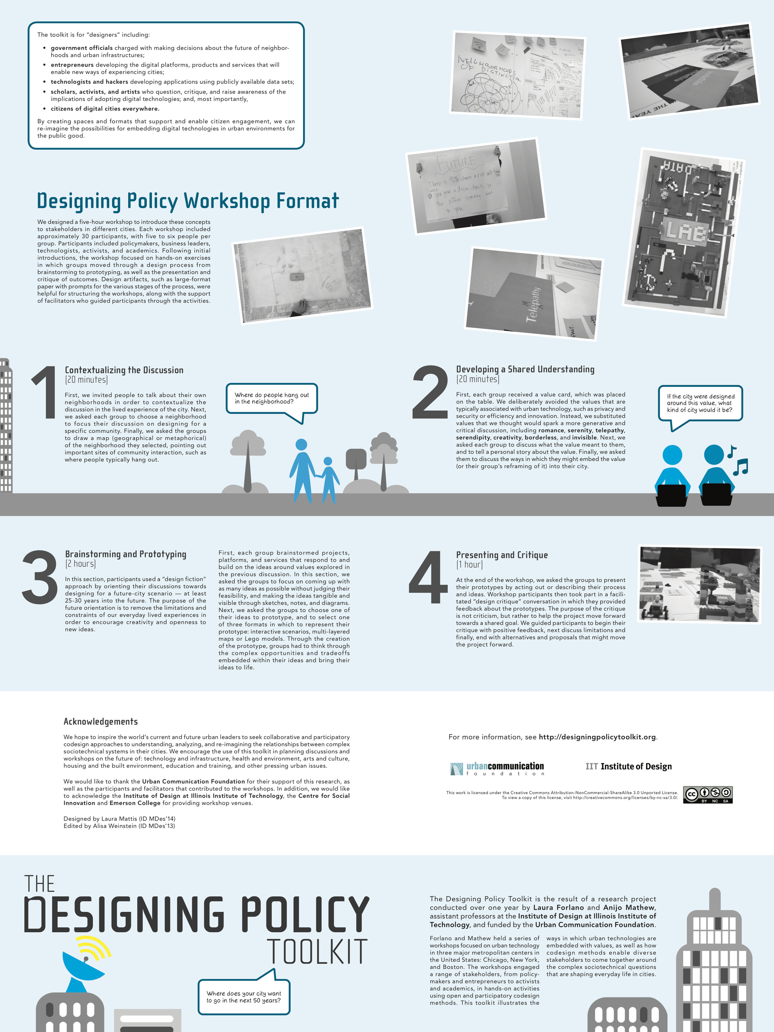 Designing Policy toolkit back describing the project and how to execute workshops
