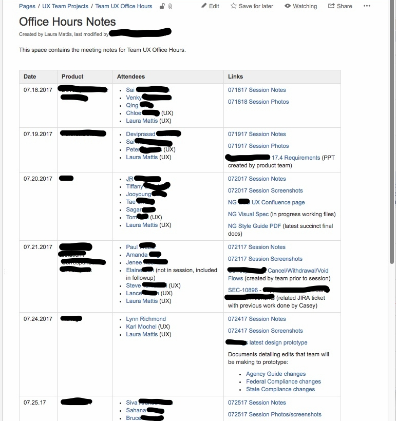 IMAGE: Screenshot of Confluence tracking page for office hour session notes.