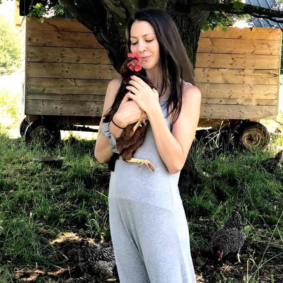 MEET JULIA - [wearing Miakoda grey slouchy romperwith a chicken friend]