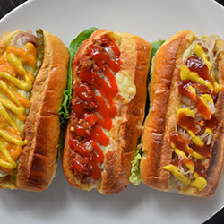 New York dog kransky  caramelised onion, pickles, mozzarella, tomato sauce and American mustard
