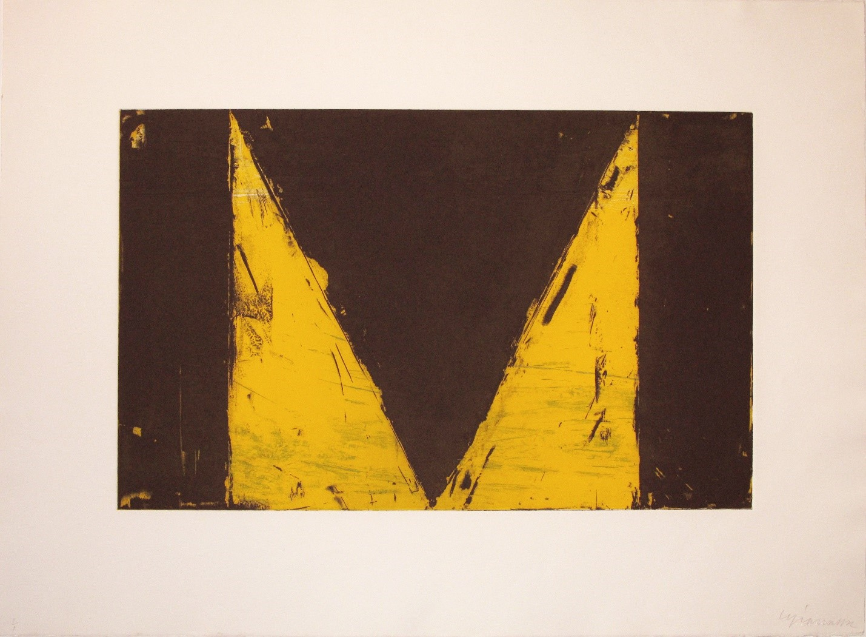 "Cris Gianakos ,  Delta Series  (yellow) 1985, Aquatint etching, 22"" x 30"", 55.9x76.2cm.jpg"