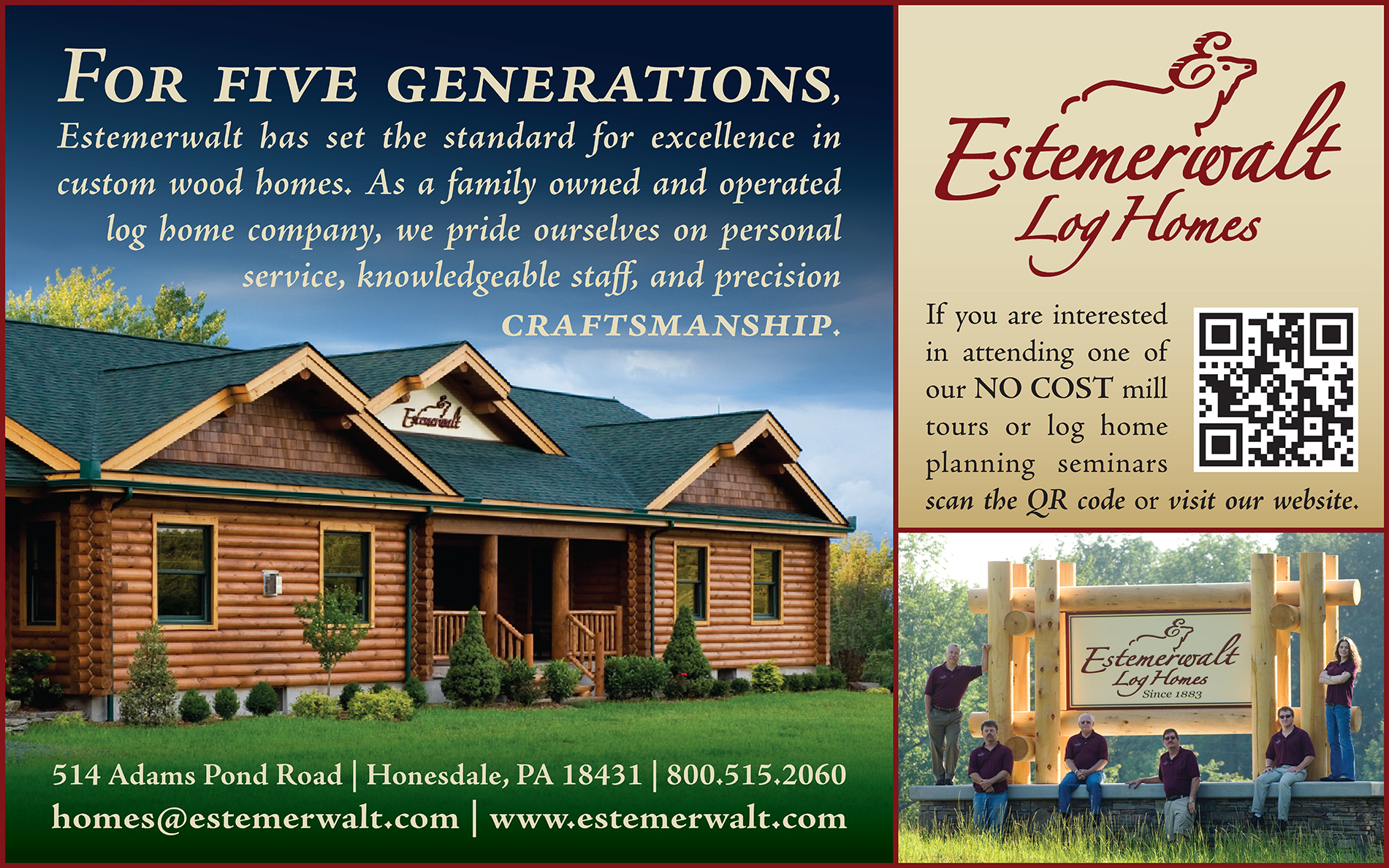Estemerwalt Log Homes Ad