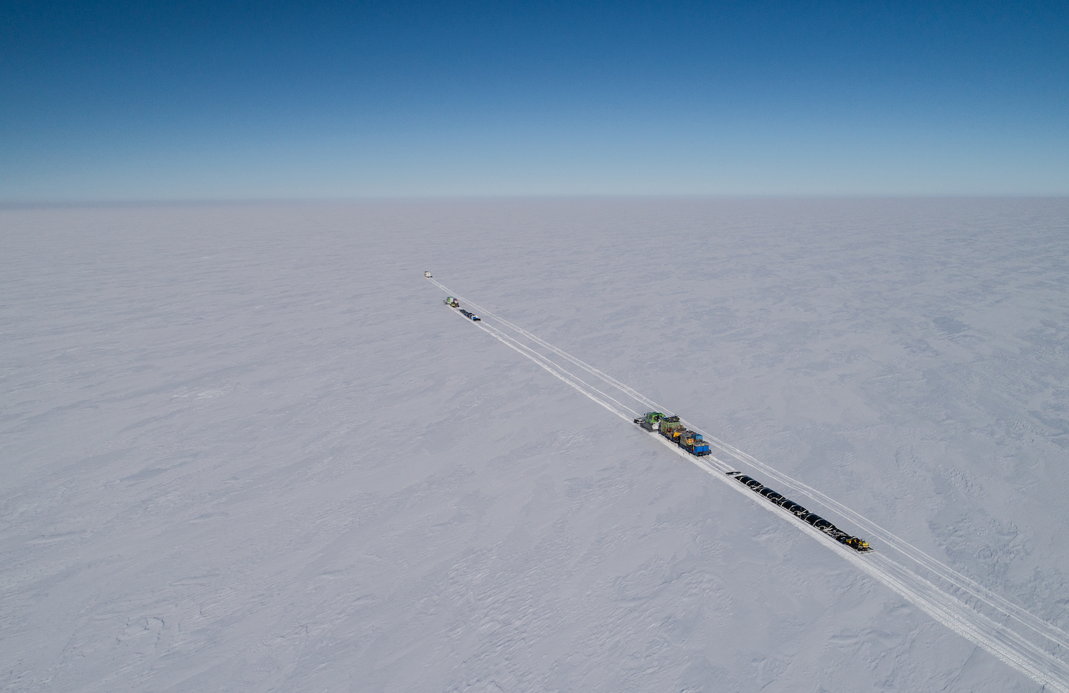 The traverse convoy on the Ross Ice Shelf