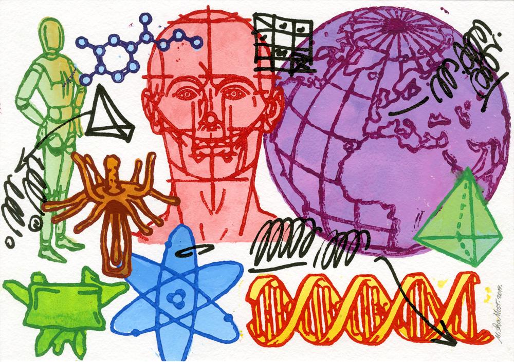 DNA Test . lino-cut series