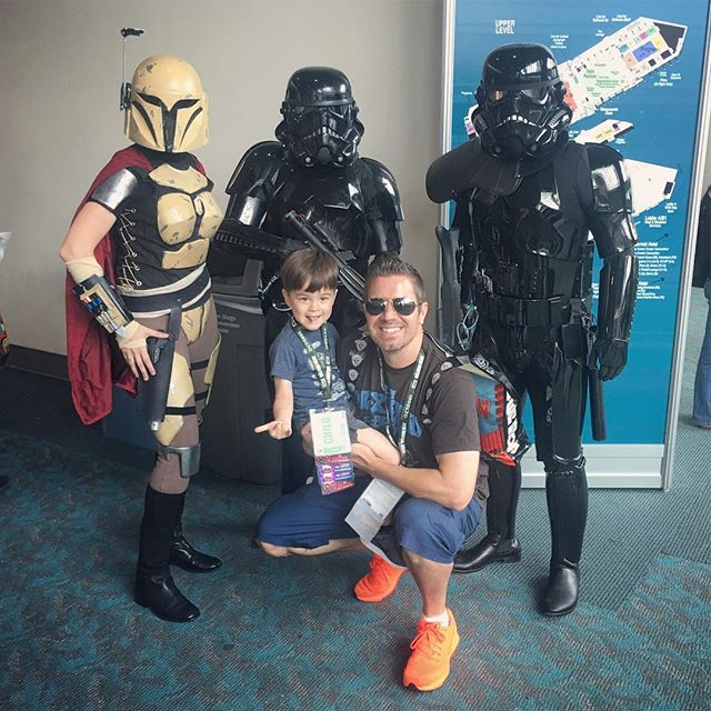 Cashey & I had a blast at the SD ComicCon until we both got captured by a bounty hunter & two Death Troopers! #sdcc #starwars #bestkidever #cassiusdraven