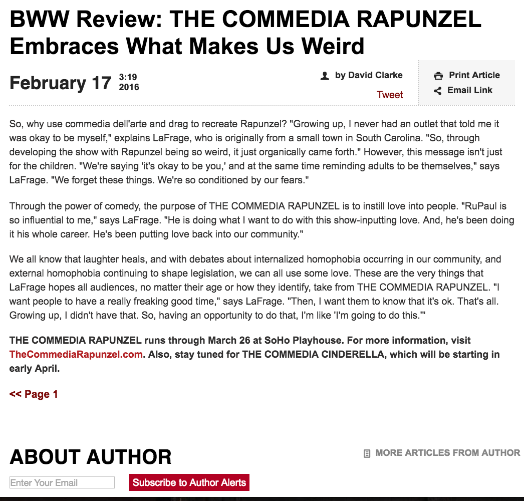 BROADWAY WORLD Review