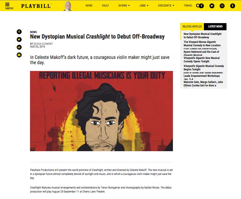 Crashlight Playbill Article