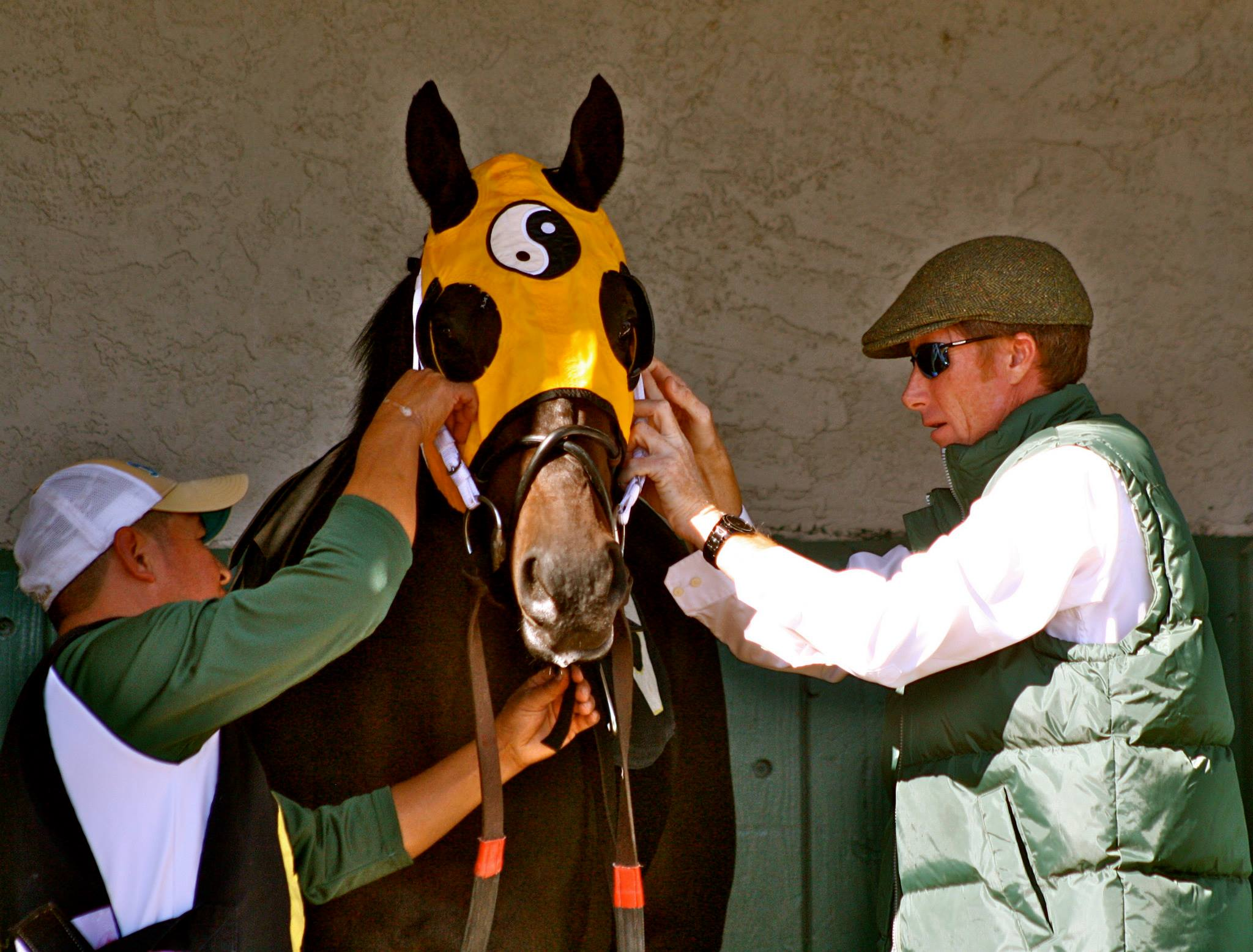 Carl prepares Kinsale King for a race at the July Cup in Newmarket, England.