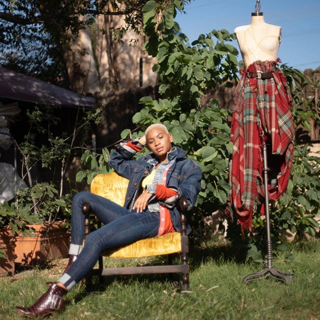 Draping Lessons  featuring the Duchess Straight Leg Jean.  #losanglesdesigner #denimadict #denimondenim #fashionstory #denimfit #draped #drapeddenim #scottishplaid #duchessjean 📸@annahstasia  Model: @janaikirsten MakeUp: Daina Sher Stylist: @garinamari