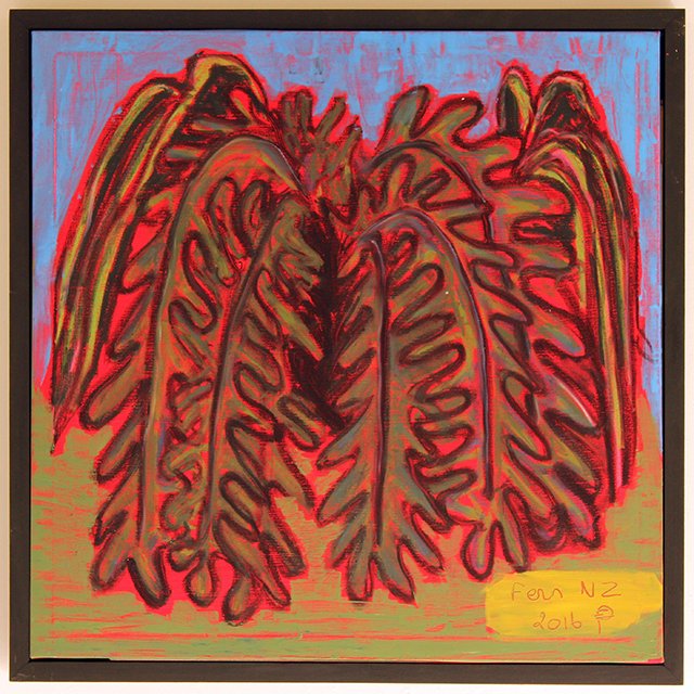 EDITH PERRENOT 'Fern NZ'  'Fern NZ' , 2016, Acrylic and charcoal on canvas 60 x 60 cm, signed LR