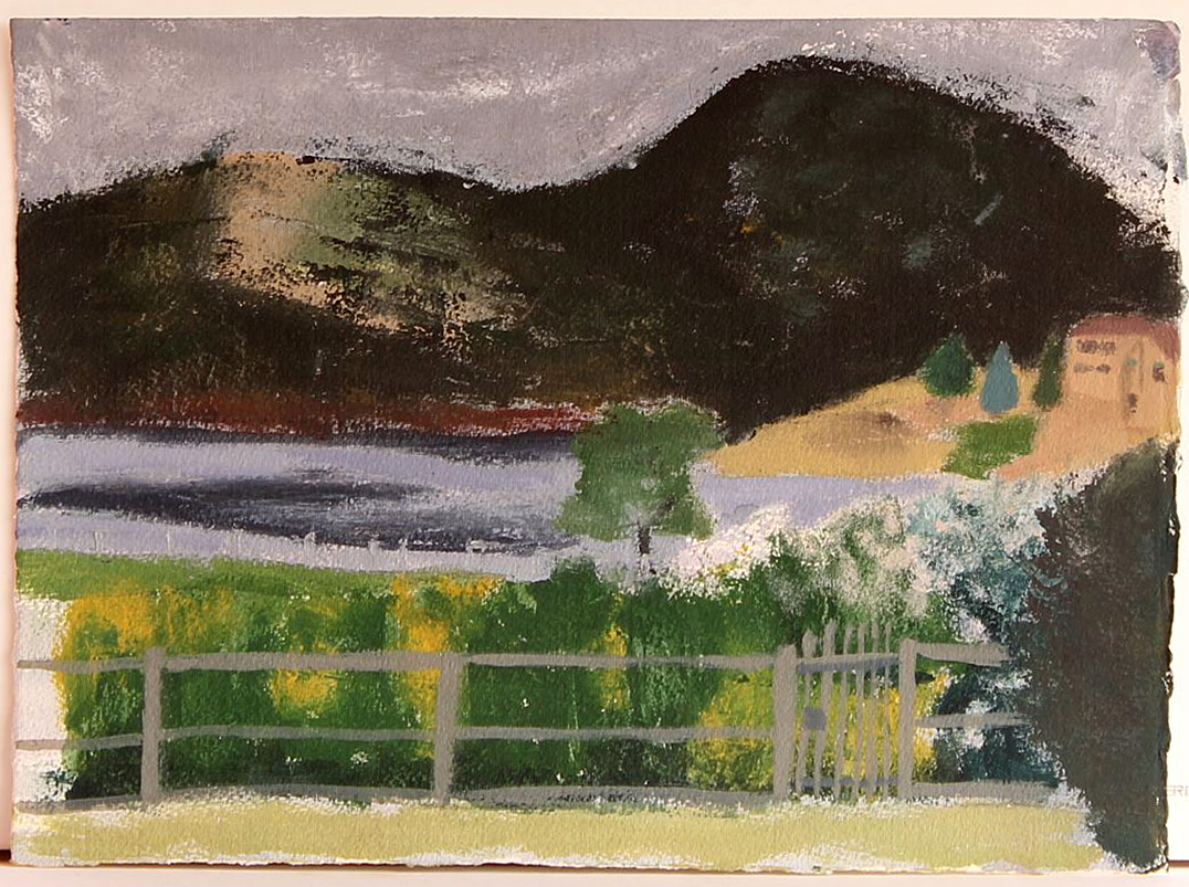 EDITH PERRENOT 'Claremont view from my window' 2015, acrylic on paper 21 x 29.7 cm signed verso