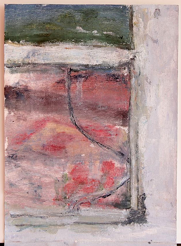 EDITH PERRENOT 'Broken window' 2015, acrylic on canvas paper, 29.7 x 21 cm signed verso
