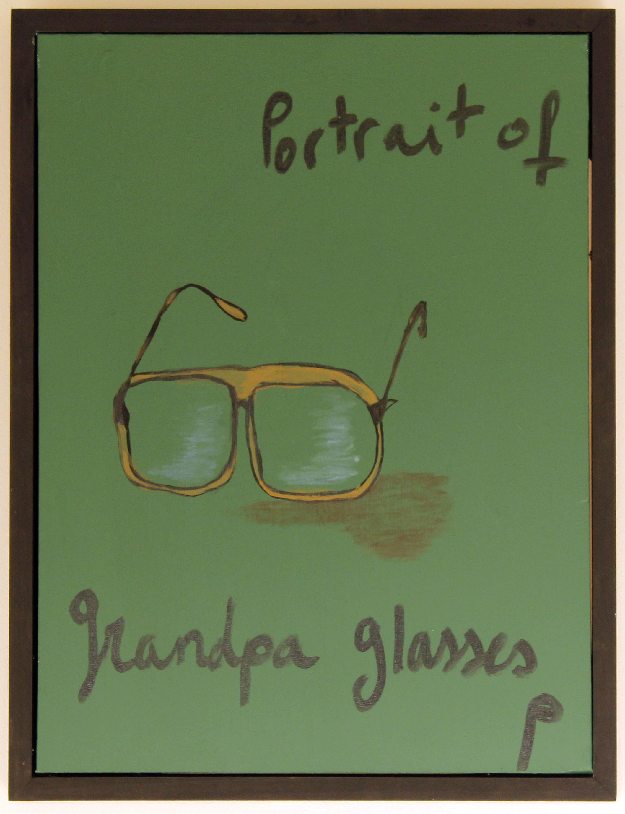 EDITH PERRENOT ' Grandpa's glasses portrait' 2016, acrylic on canvas 71 x 47 cm signed LR