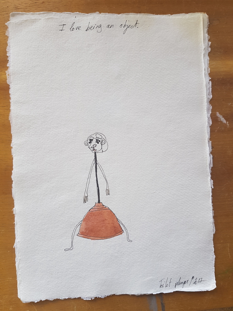 Edith Perrenot Toilet plunger, I love being an object serie, 2017, pen and watercolour in paper 29 x 21 cm WEB.jpeg