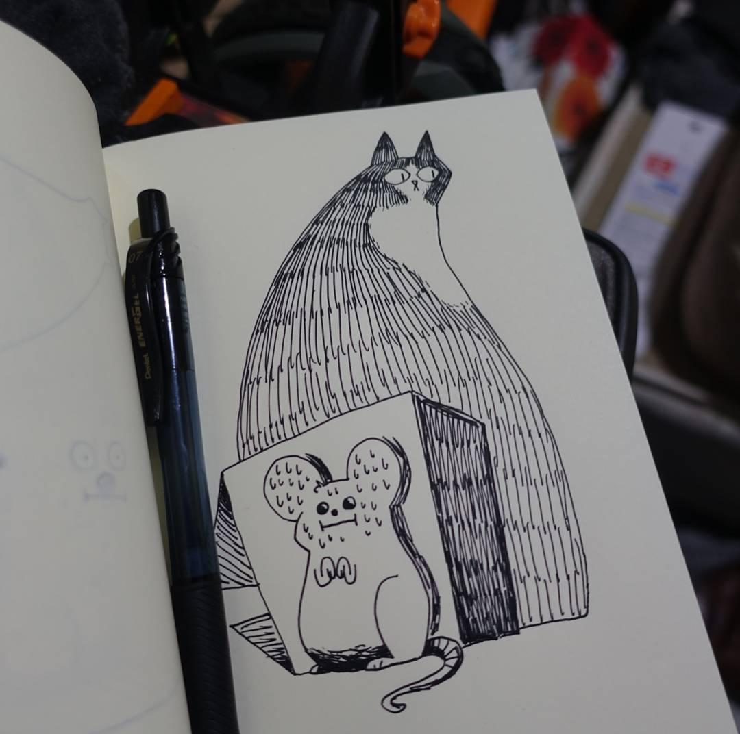 #inktober My cat has been loitering around lately. Wonder if he's onto something! #inktober2016 #ink #hidden #cat