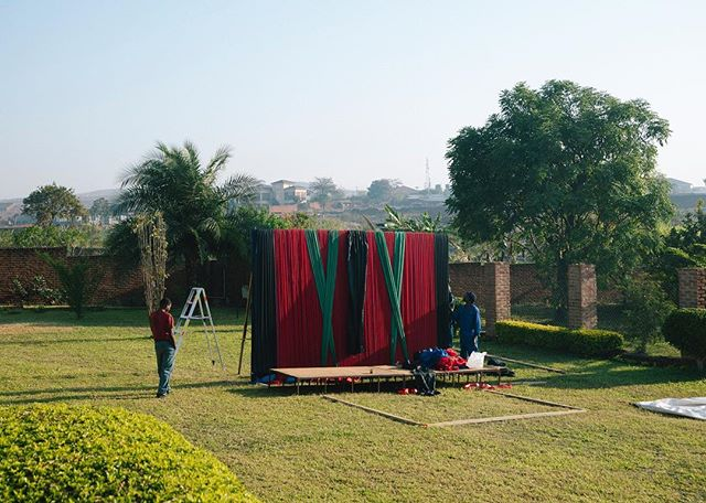 Malawians preparing for a political rally.