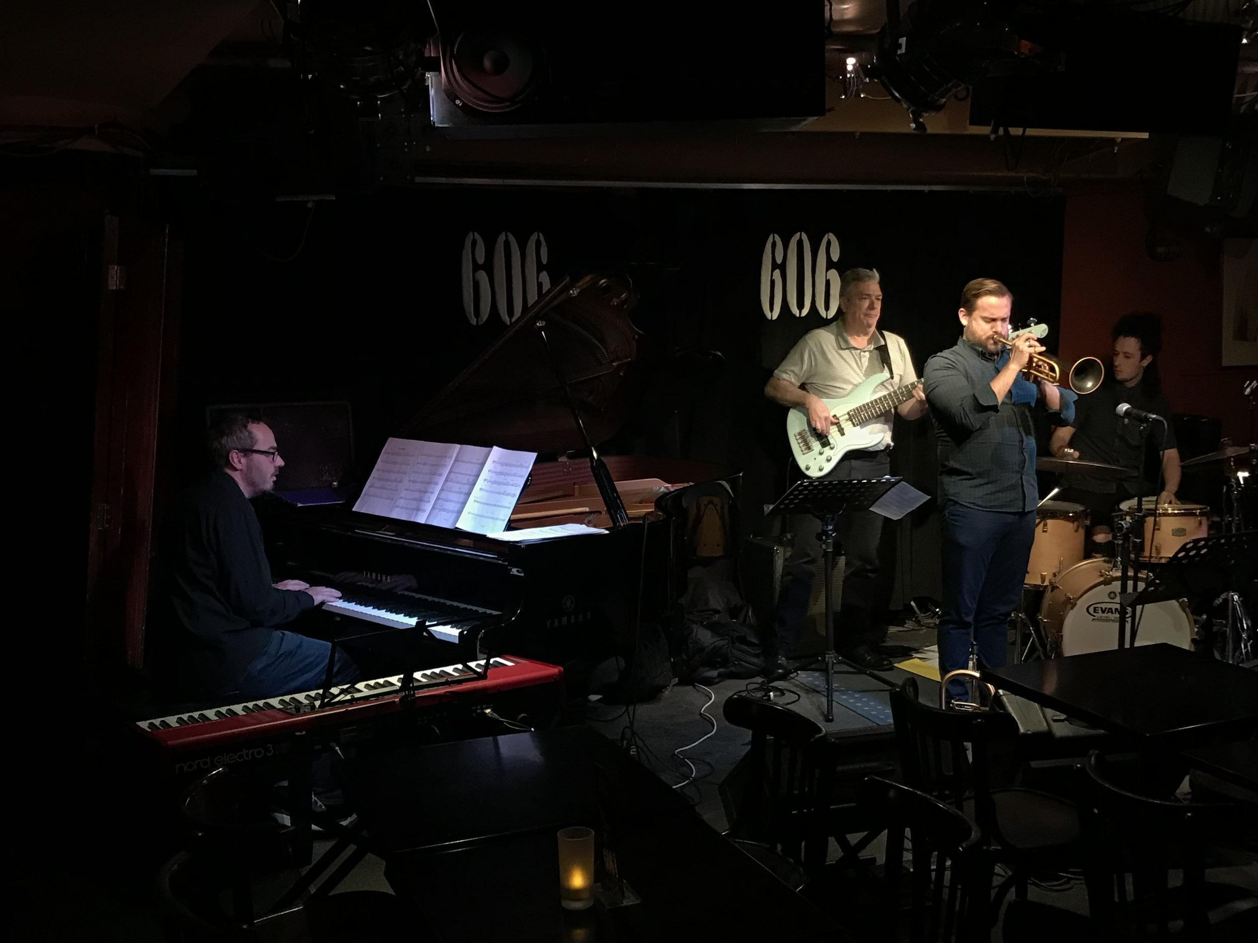 Quentin Collins, with Laurence, Jim and Jamie, at the 606 Club.