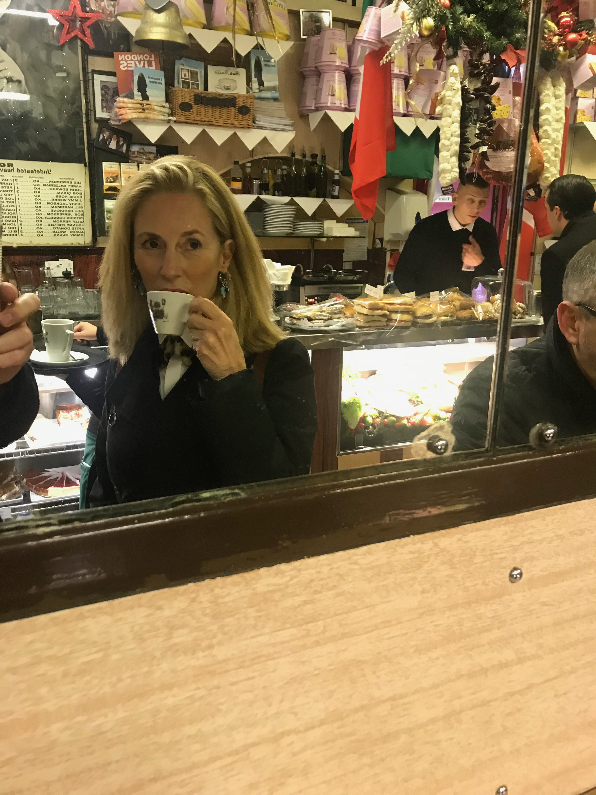 Leslie, Martin Hummel's wife, having an espresso at Bar Italia, before the next show.