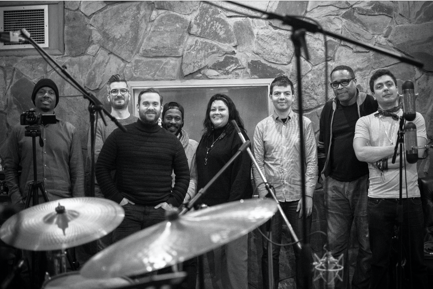 Left to Right: Willie Jones III, Leo Richardson, Quentin Collins, Joe Sanders, Meilana Gillard, Dan Nimmer, Jean Toussaint, Tom Harrison (photograph: Goat Noise Photography)