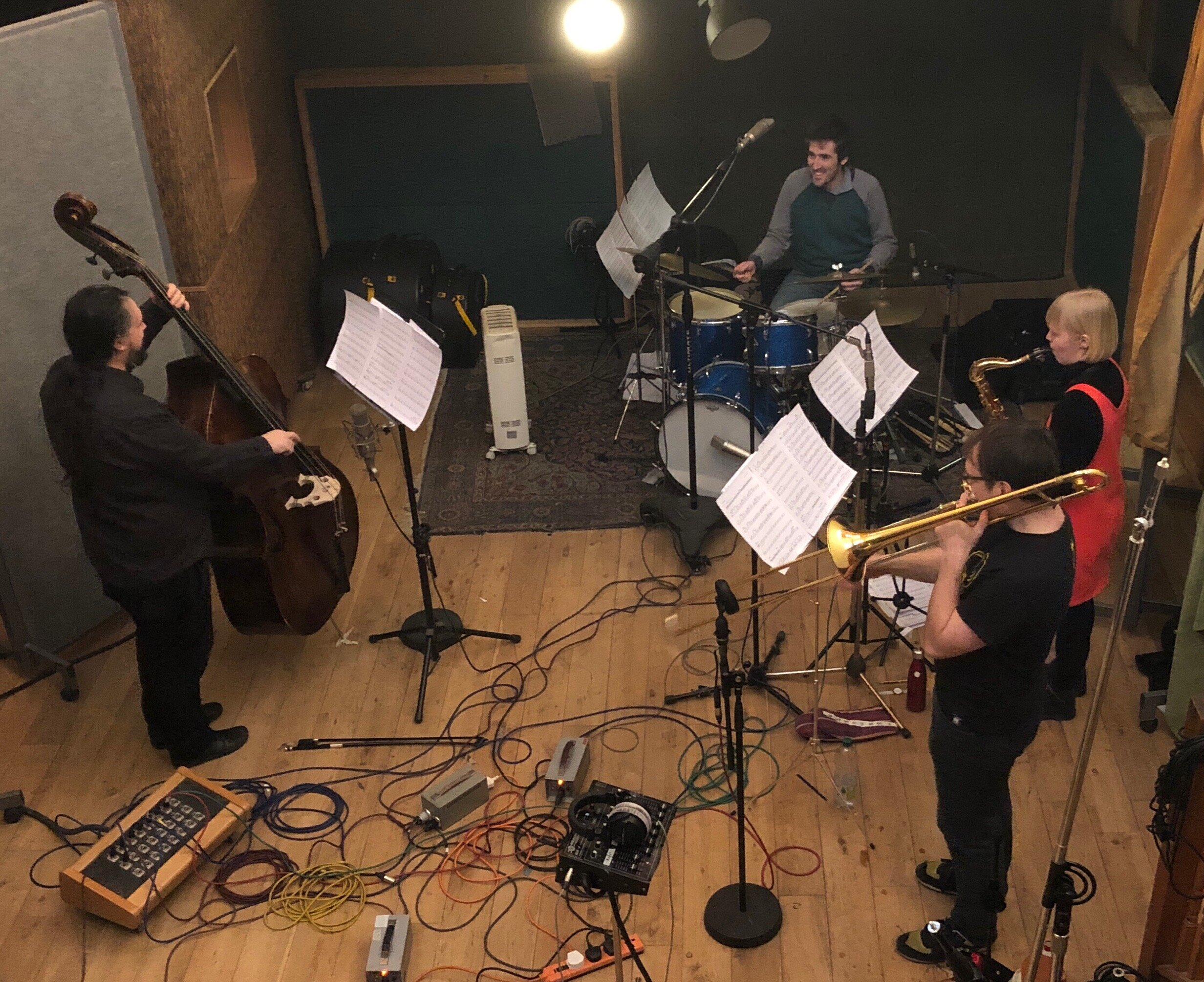 Left to right: Calum Gourlay, James Maddren, Kieran McLeod, Helena Kay.