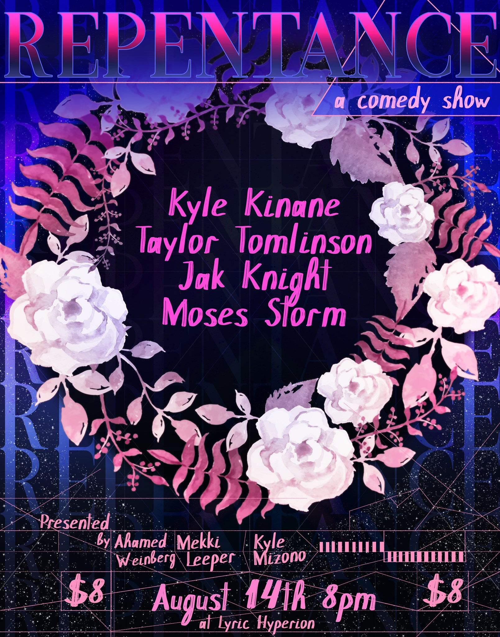 TICKETS    Ahamed Weinberg, Mekki Leeper and Kyle Mizono bring you an all star lineup every second Wednesday of the month!  Featuring:  Kyle Kinane Taylor Tomlinson Jak Knight Danielle Perez Moses Storm