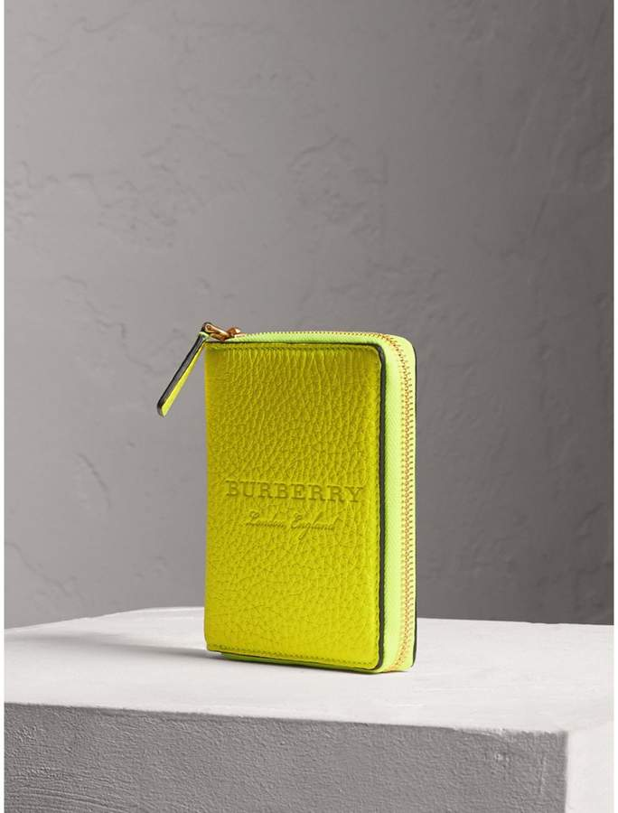 Burberry Embossed Grainy Leather Ziparound A6 Notebook Case - Bright Yellow
