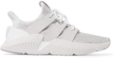 adidas Originals - Prophere Faux Leather And Rubber-trimmed Stretch-knit Sneakers - White