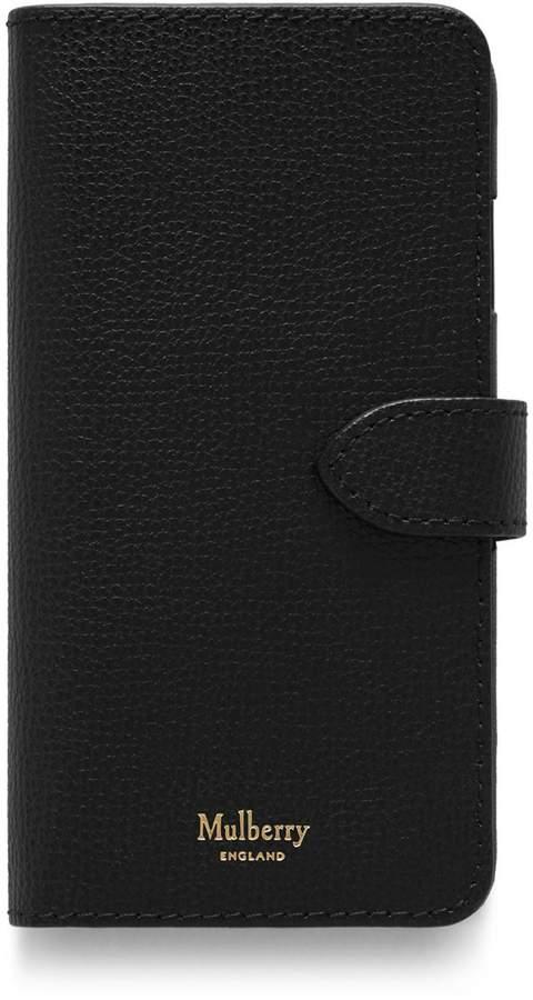 iPhone Flip Case Black Cross Grain Leather