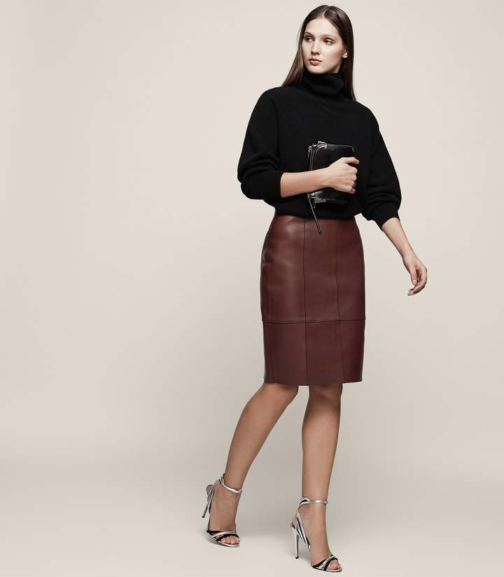 REISS Tris - Bonded Leather Pencil Skirt in Ox Blood