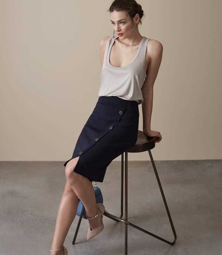 REISS Lanie - Button-detail Skirt in Midnight