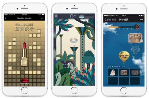 WeChat games from Guerlain, Hermès and Dior. Photo Credit: CuriosityChina