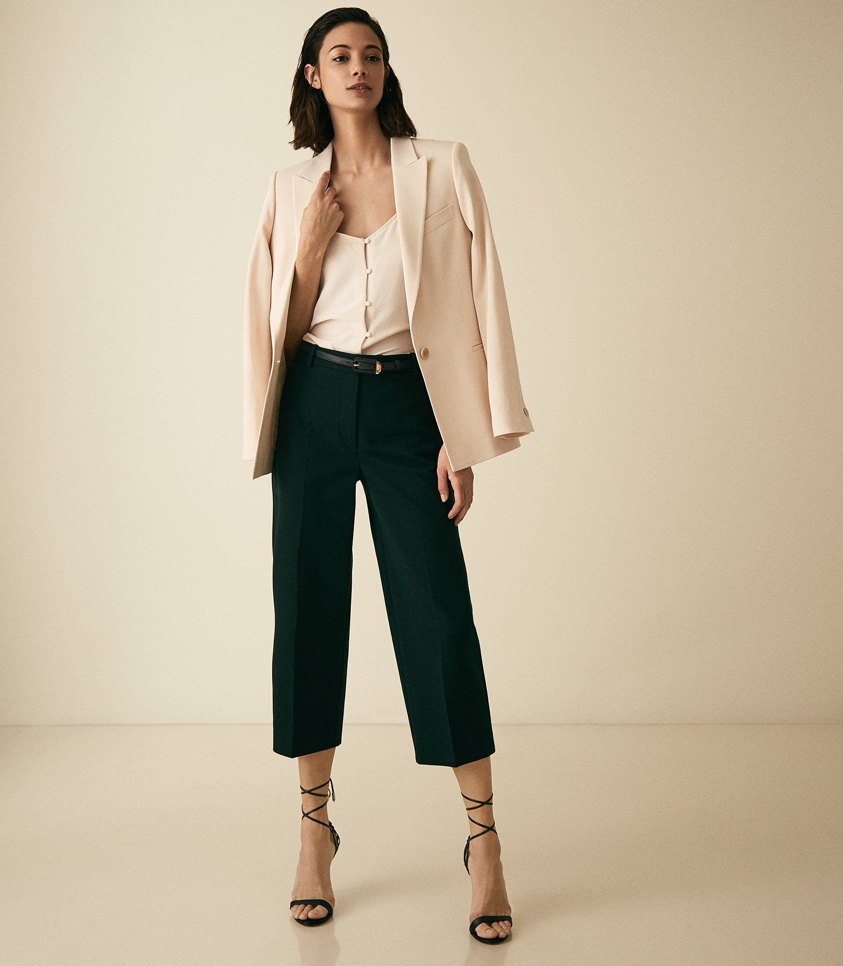 Reiss Faith - Cotton Blend Cropped Tailored Trousers in Dark Green